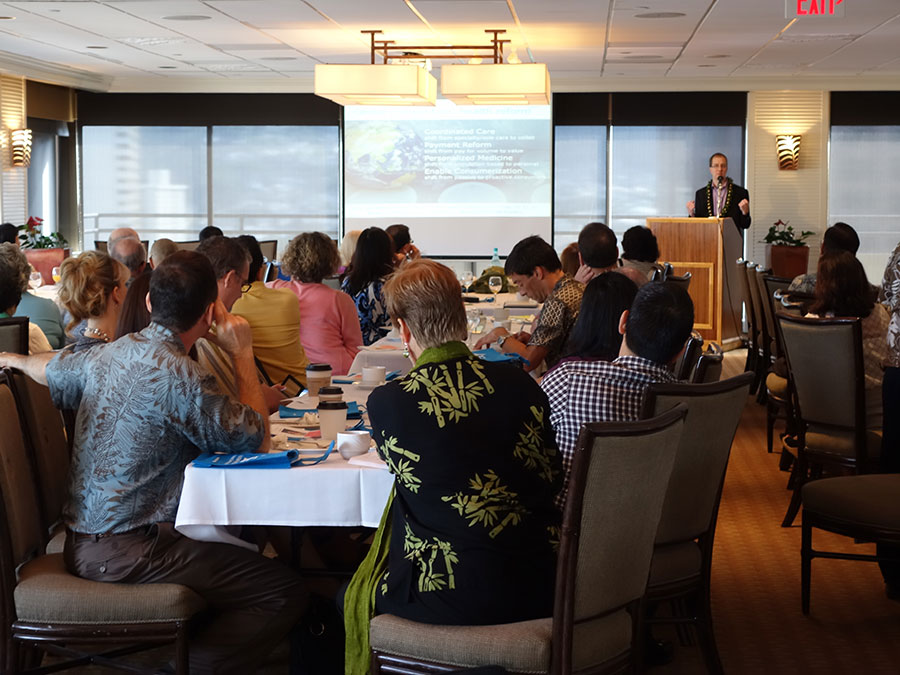 Eric Dishman shares his views on aging-in-place technology at the Plaza Club in Honolulu.