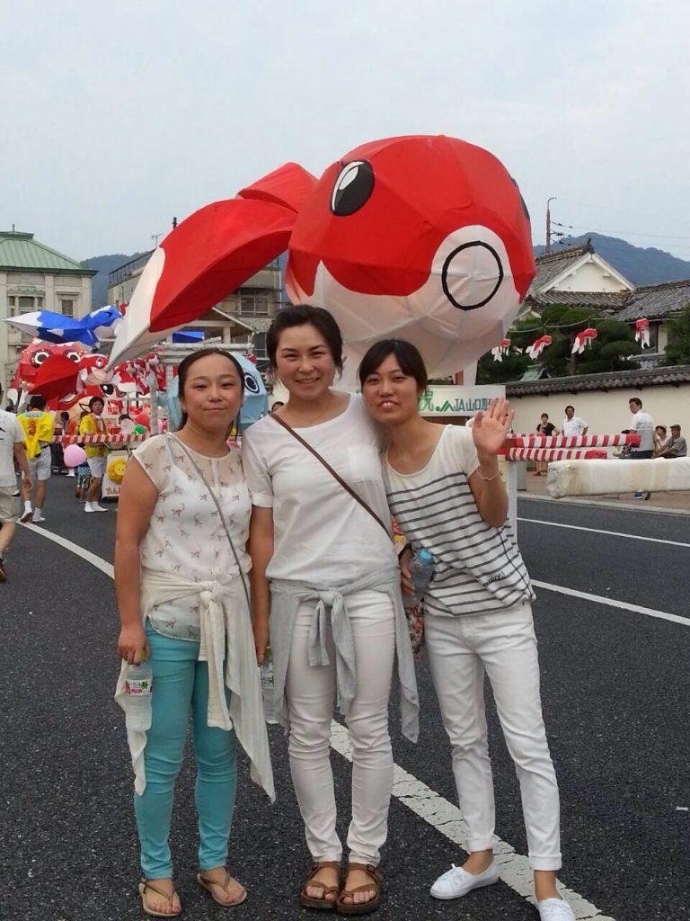 Enjoying the Yanai Kingyo (goldfish) Chochin (lantern) Festival in Yanai City, Yamaguchi-ken, in mid-August.