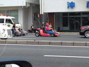 Can you believe this sight?! Go carts being driven on a major street in Okinawa. (Photos by Louis Wai)