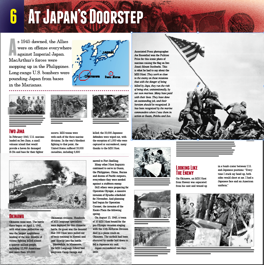 """At Japan's Doorstep"" is one of the panels in the ""America's Secret Weapon"" exhibit highlighting the service of the Military Intelligence Service in World War II."