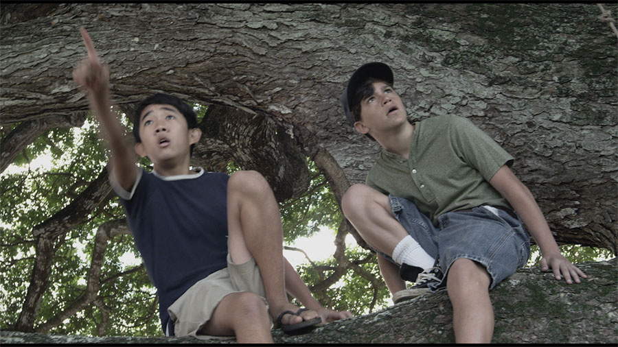 A stunned Tomi and Billy witness the attack on Pearl Harbor from their favorite tree spot.