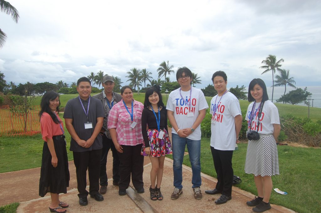 University of Hawai'i students, from left: Nalisha Arakaki, Stanley Chan, Sergey Russu, Nicole Mercado and Chelsie Takasaki, with Matsuyama University students Wataru Ishiki, Ryohei Nishioka and Miki Ozawa.