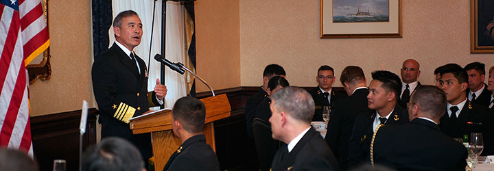 Adm. Harry B. Harris Jr., commander of the U.S. Pacific Fleet, gave the keynote address at the Asian American and Pacific Islander Heritage Month banquet, which was held April 28 at the Naval Academy Club. (Photo from www.usna.edu)