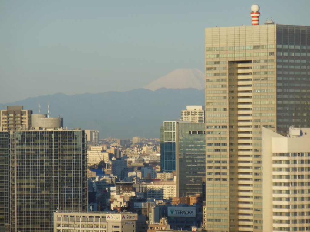 The sight of snow-capped Mt. Fuji from the window of our vacation apartment.