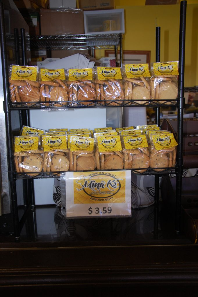 Mina K's cookies come in a variety of flavors. It's the perfect omiyage to take home and can only be found at Waipouli Deli & Restaurant, located in the Waipouli Town Center.