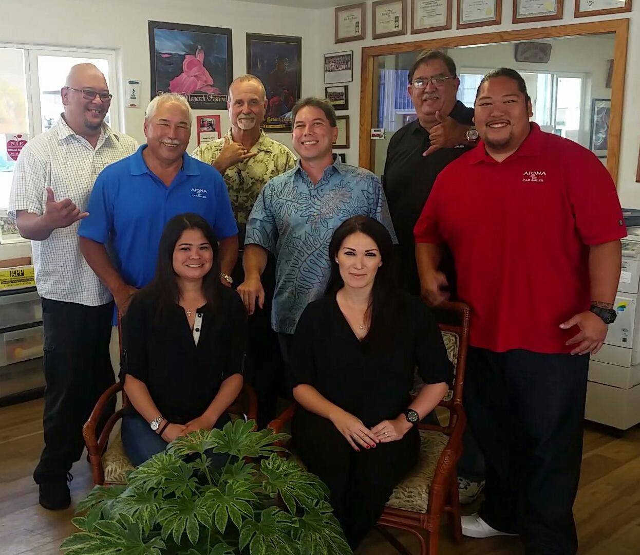 Mark Yamanaka (far right) with his Aiona Car Sales 'ohana. (Photo courtesy of Aiona Car Sales)