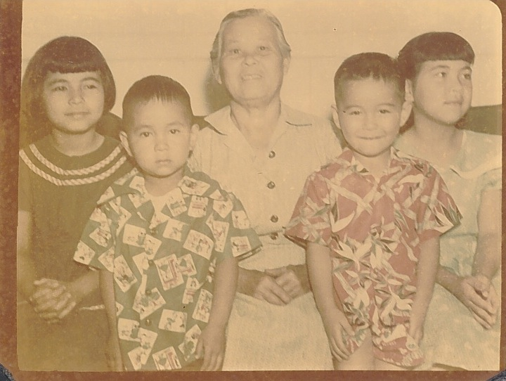The Kimura children with Baban. From left: Leila, Lester, Larry and Leo. (Photos courtesy Larry Kimura)