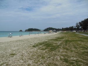 There's a reason tourists flock to Okinawa's beach - the white sands of Okuma Beach.