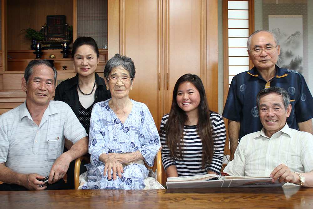 The student exchange program afforded Nikki the opportunity to meet her father's relatives in Okinawa, including his aging paternal grandaunt, Furugen-san. (Photos courtesy of Nikki Chinen)