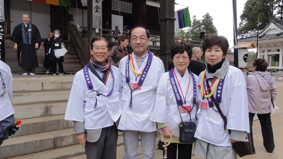 Author Roy Kodani (far left) with Most Rev. Akiyama's sister Tomoko Yano (third from left), Tomoko's son Yukio and his wife Harumi. The Yanos reside in Hokkaidö.