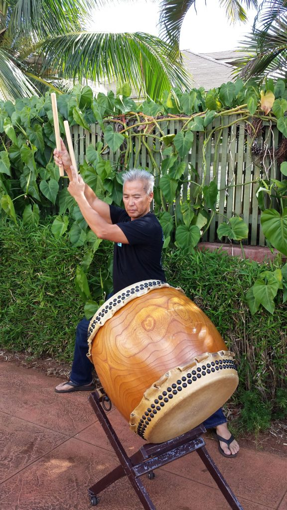 "Kenny Endo at his home in Kaimuki. ""The deep sound and vibrations [of the taiko] - not only can you hear and feel it with your whole body, you can experience it."" (Photo by Gwen Battad Ishikawa)"