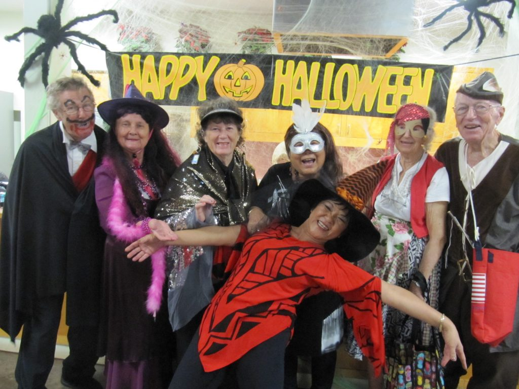 Kathy hams its up with seniors at a Halloween bash last year at Maui County's Kaunoa Center in Pa'ia. (Photos courtesy Kathy Collins)