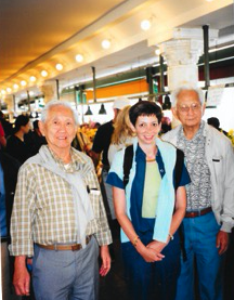 Author Pamela Rotner Sakamoto with brothers Frank (far left) and Harry Fukuhara in Seattle in the summer of 2002 while visiting the brothers' hometown of Auburn, Wash. (Photo courtesy Pam Rotner Sakamoto)