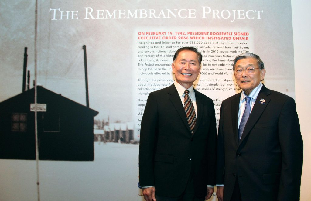 George Takei and former congressman and U.S. Transportation secretary Norman Mineta at the 2012 launch of the Remembrance Project, a website that allows Japanese Americans to share their World War II internment experiences.