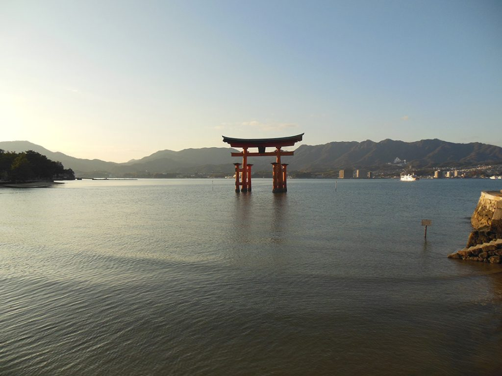 The iconic Miyajima Torii in the distance.