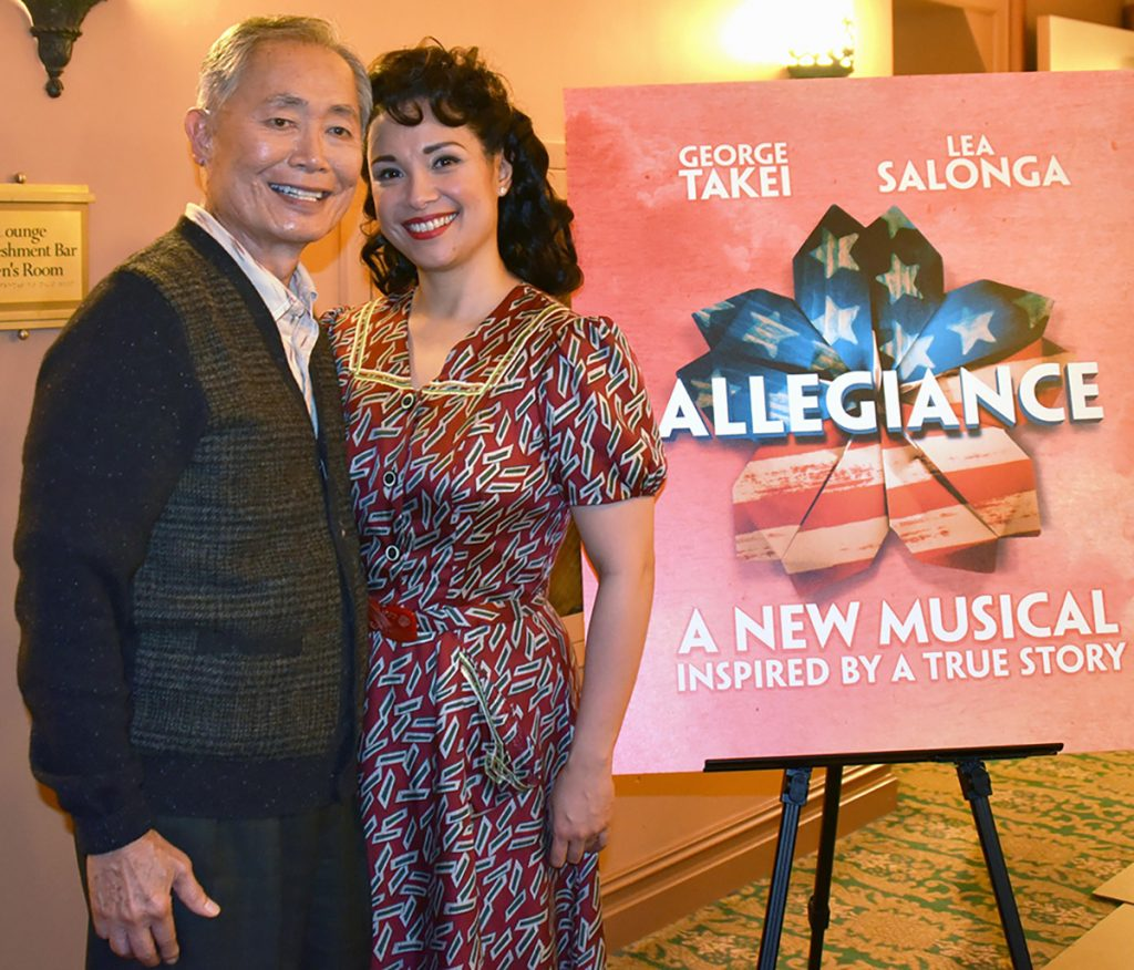"Actors George Takei and Lea Salonga promote the Broadway musical ""Allegiance"" in New York."