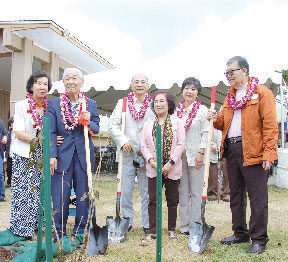 The first cherry tree was planted by (from left) Vivian and Dr. Tetsuo Koyama, Consul General Yasushi Misawa, Susanna Cheung, Yoko Misawa and Ho-Ming Cheung.