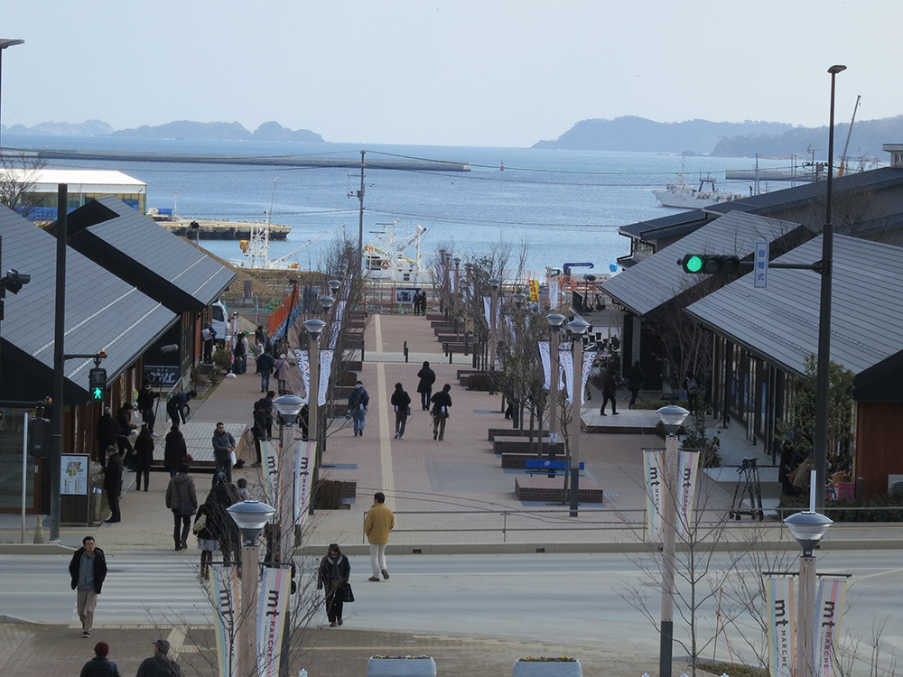 From the second floor of the Onagawa Station, life seems to have returned to normal on the Promenade.