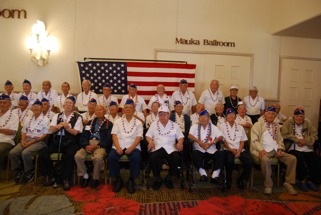 Veterans of the 442nd Regimental Combat Team gathered for a group photo at the 73rd anniversary banquet in April.