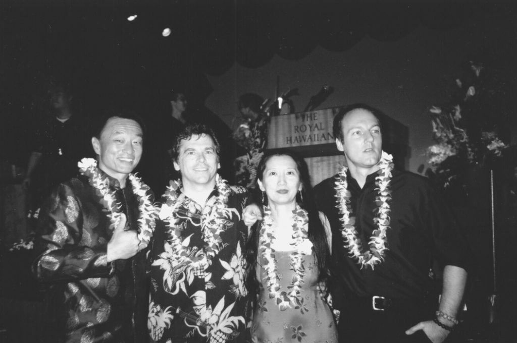 The jurors of the 2001 Hawai'i International Film Festival, from left: Cary- Hiroyuki Tagawa, San Francisco Chronicle film critic Edward Guthmann, director Emily Liu and director Bey Logan. (Hawai'i Herald file photo)