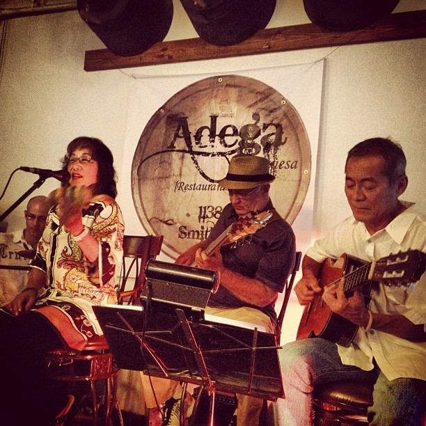 A few years ago, Sandy formed a band to perform Brazilian music at Adega Portuguesa in Honolulu's Chinatown. The restaurant, which is closed for business, featured Portuguese cuisine.