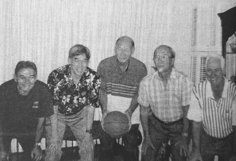 The same five are pictured at a reunion in April 1998. (Photos courtesy of Tommy Yasuhara)
