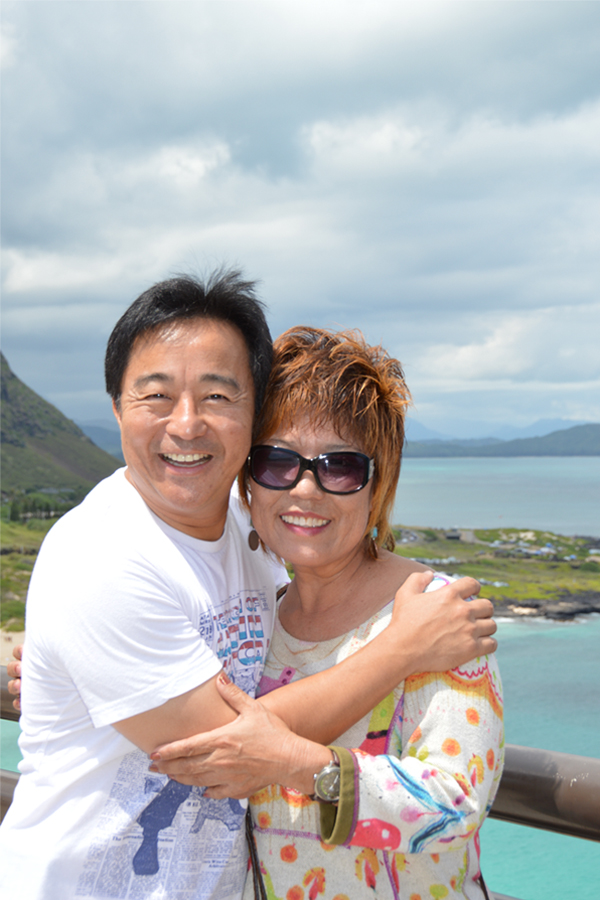 Yoko Boughton and son Glenn at the Makapuu lookout in October 2014 during their first reunion since his birth 46 years earlier.