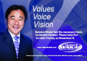 Ad for Senator Glenn Wakai