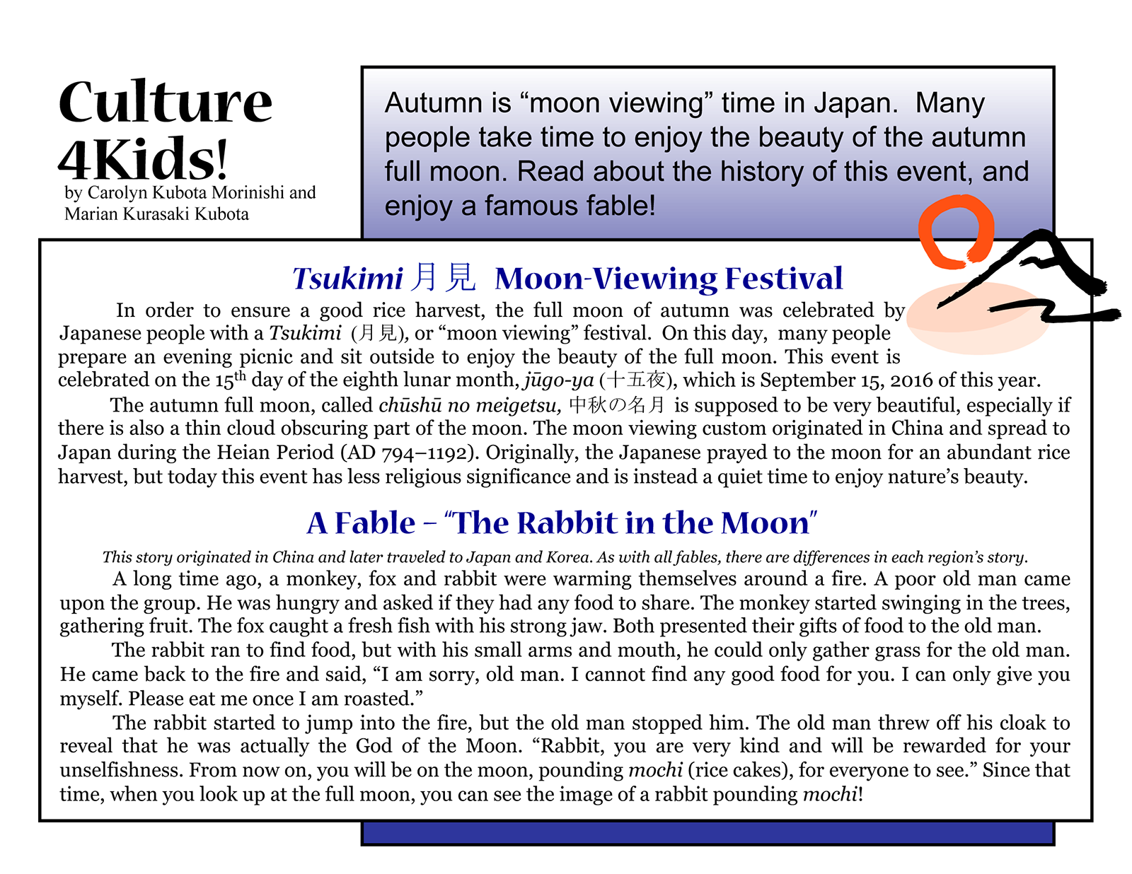 "Culture4Kids! Section, featuring ""Moon Viewing"""