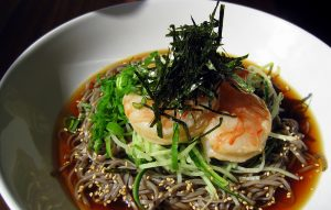 Photo of Hoku's soba topped with shrimp. (Photos courtesy of the Shibuya family)