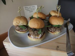 Photo of Ni'ihau Lamb Sliders with roasted fig chèvre, Nalo mustard greens