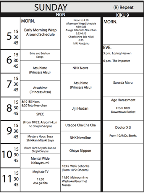 TV Guide Schedule - Sunday