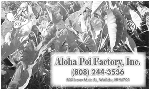 Ad for Aloha Poi Factory