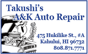 Ad for Takushi A & K Auto Repair