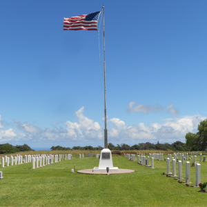 Photo of flagpole at the Makawao Veterans Cemetery funded by Maui AJA Veterans.