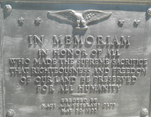 Photo of plaque at the base of flagpole, funded by Maui AJA Veterans