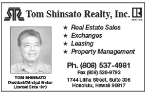 Ad for Tom Shinsato Realty