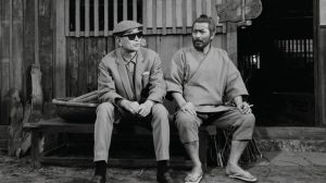 Photo of Toshiro Mifune (right) and director Akira Kurosawa