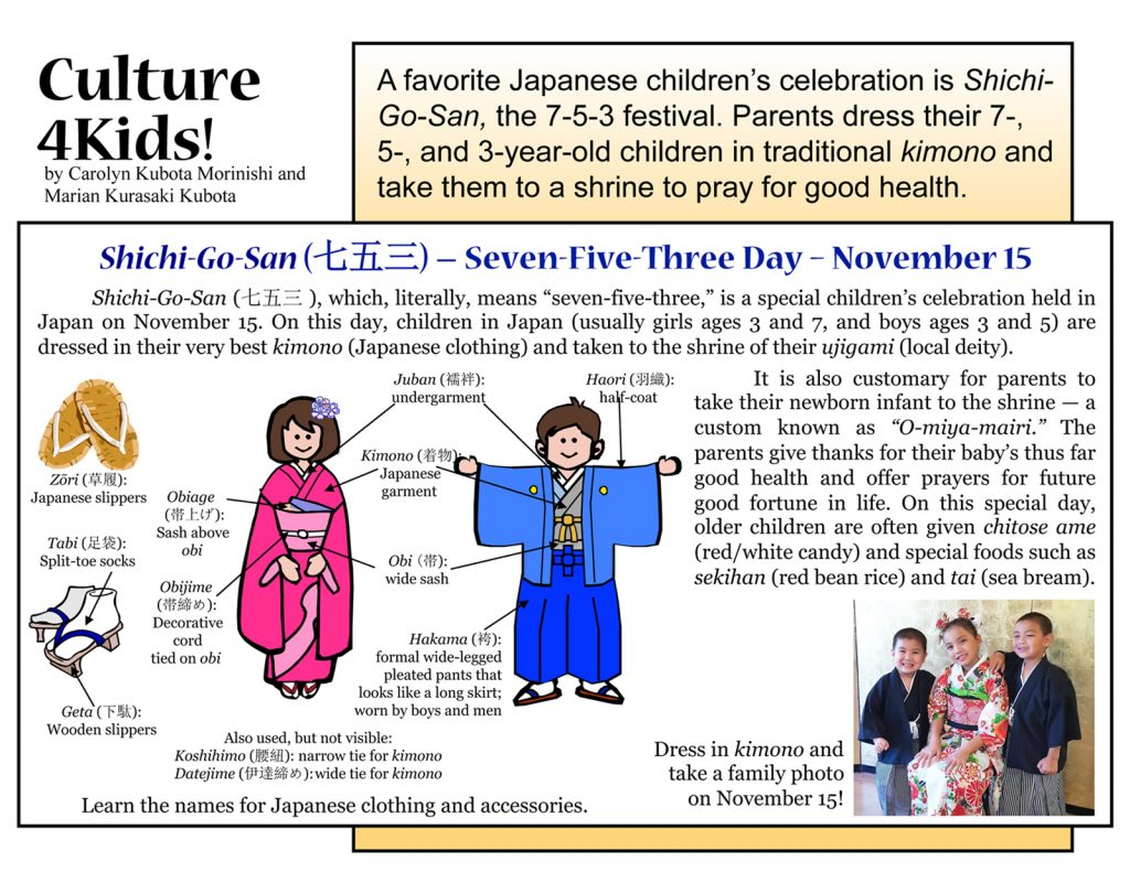 "Culture4Kids! Section, featuring ""Shichi-Go-San Festival"""