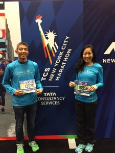Photo of Duane Tamashiro and Meredith Kuba at the New York City Marathon