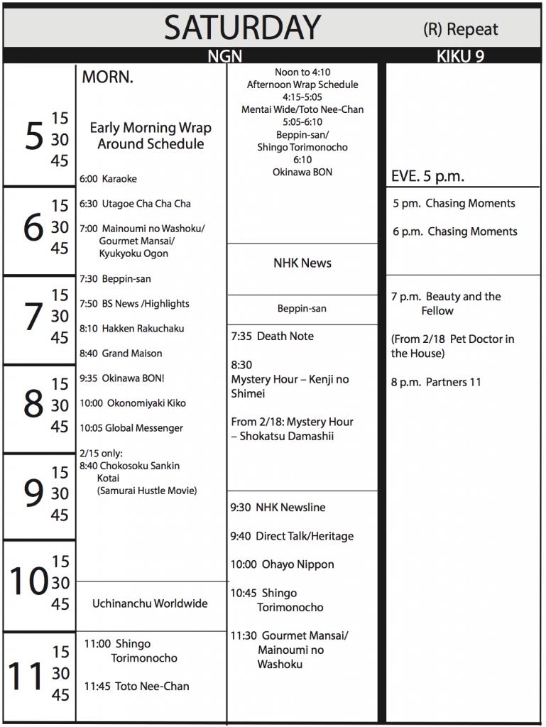 TV Program Schedule, 1/20/17 Issue - Saturday