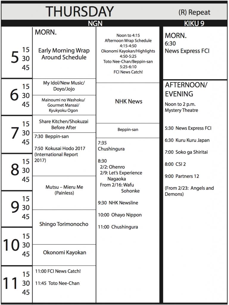 TV Program Schedule, 1/20/17 Issue - Thursday