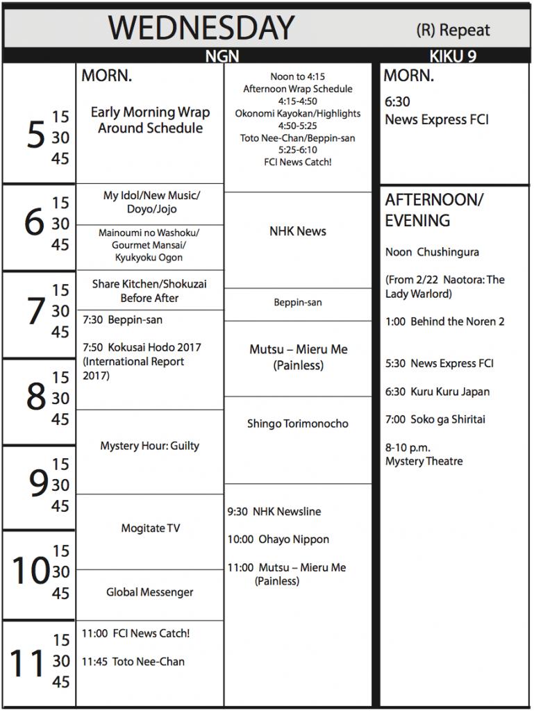 TV Program Schedule, 2/3/17 Issue - Wednesday