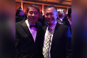 "Photo of ""Allegiance"" producer Mark Mugiishi with the star of the musical, George Takei."