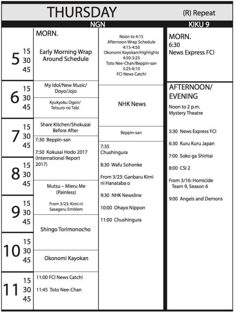 TV Program Schedule, 2/17/17 Issue - Thursday