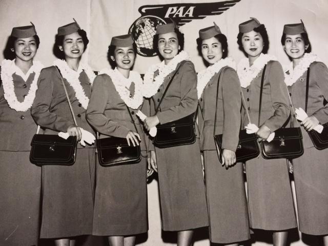 Group photo of the first Nisei stewardess graduating class: (from left) May Hayashi, Louise Otani, Katherine Shiroma, Jane Toda, Ruby Mizuno, Masako Tagawa and Cynthia Tsujiuchi.