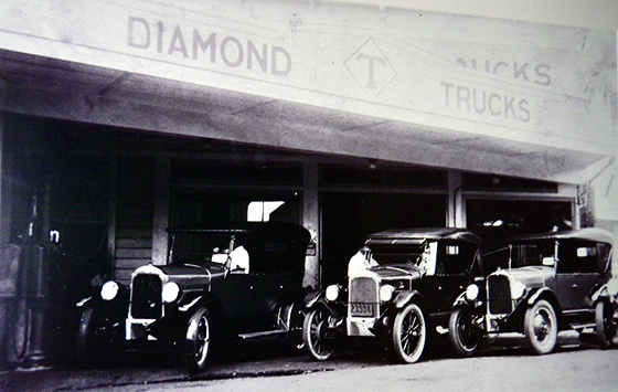 Photo of A line of Diamond T trucks in 1926. (Photos courtesy Kitagawa family)