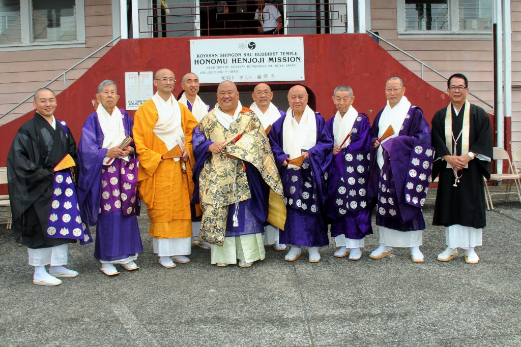 Ministers of the Köyasan Shingon Mission of Hawaii gather for a group photo with their new bishop. (Photos by Danny Escalona)