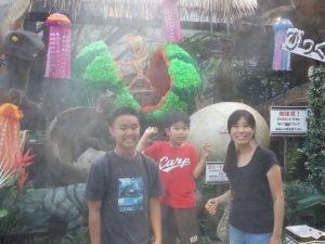 Group photo of Jairus, Shogo and Reiko-mama at Irori Sanzoku theme park