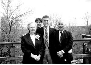 "A 1995 family photo of Mary and Edwin ""Bud"" Nakasone with their two sons, Paul (standing between them) and John behind Paul. (Photos courtesy Lt. Gen. Paul Nakasone)"